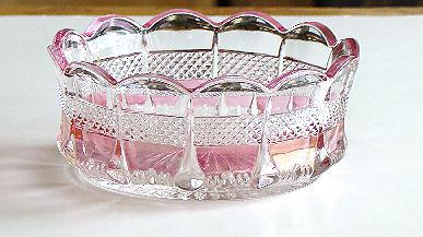 EAPG Early American Pattern Glass Virginia Banded Portland Clear With Rose Blush Finger Sauce Bowl