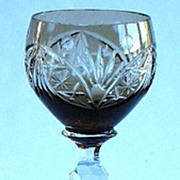 Elegant Smoked Topaz Cut To Clear Wine Stem Six Sided Zippered Stem