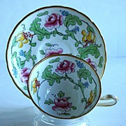 Magnificent Hand Painted Royal Chelsea English Fine Bone China Persian Rose Cup And Saucer Enamel Beading Gold
