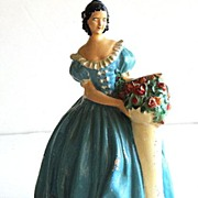 Antique Victorian Woman Chalkware Figurine Turquoise Balloon Dress Rose Bouquet Pedestal