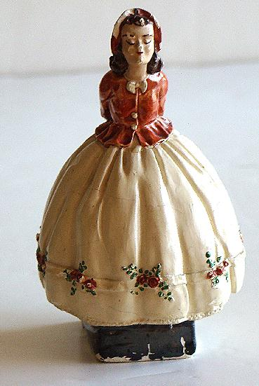 Antique Chalkware Victorian Woman Figurine Floral Bonnet Balloon Dress