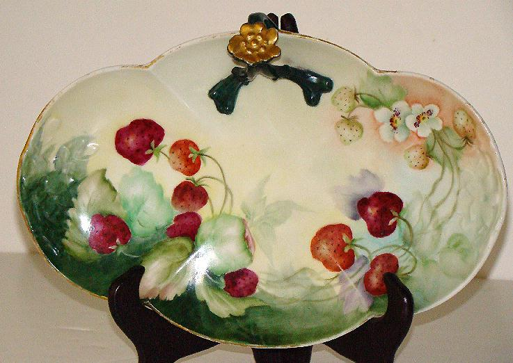 Stunning William Guerin Limoges Split Center Handle Tray Hand Painted Strawberries