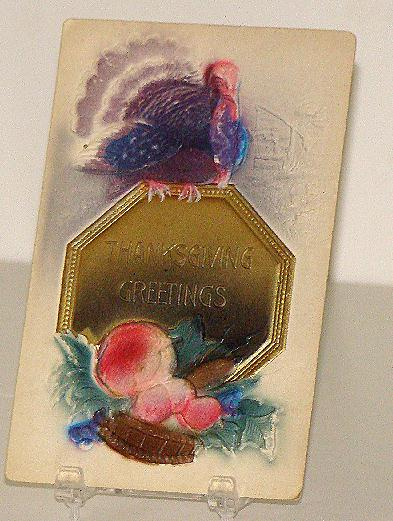 Early 1900s Thanksgiving Greeting Postcard Turkey Sitting On Gold Plate Embossing