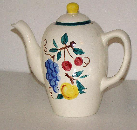 Scarce Stangl Pottery Trenton NJ Coffee Pot Fruit Pattern Grapes Cherries Peaches