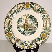 "Magnificent Polychrome  G.Fox State Capital Hartford Connecticut 10 7/8"" Souvenir Plate"