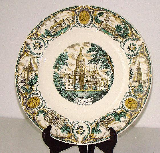 "Magnificent Polychrome  G.Fox State Capital Hartford Connecticut 10 7/8"" Souvenir Plate"