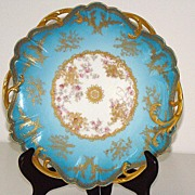 "Amazingly Detailed Haviland Limoges  8  7/8"" Pierced Plate Sky Blue Heavy Gold Leaf Pink Roses J. W. & W. Westwater"