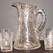 5 PC.Floral Gravic Glass Lemonade Water Pitcher Tankard Set Four Matching Tumblers 6 Lb.