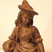 Highly Unusual Victorian Woman Chalkware Figurine Holding Basket & Headless Game Bird