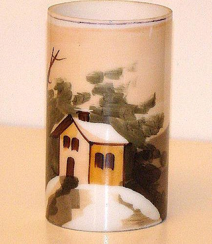 Hand Painted Glass Brush Pot Rural Cabin Scene Mountains Water Trees