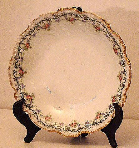 "JPL Jean Pouyat Limoges Pink Rose Strawberries Blue Forget Me Not 9.5"" Bowl"