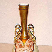 "Magnificent Martial Redon Limoges 9.75"" Long Neck Vase Pink Heavy Floral Gold Overlay Beading"