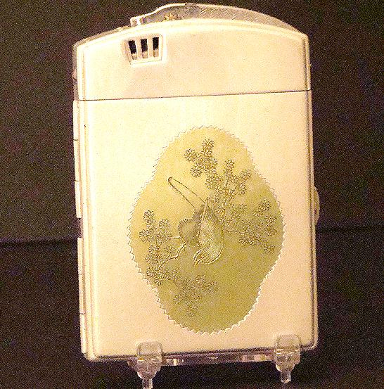 Vintage Japanese Combination Cigarette Holder & Lighter Bird Butterflies Dragons