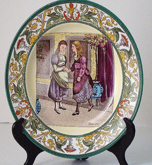 Wonderful Polychrome Wedgwood Etruria January Month Plate Two Women Shaking Holding Hands