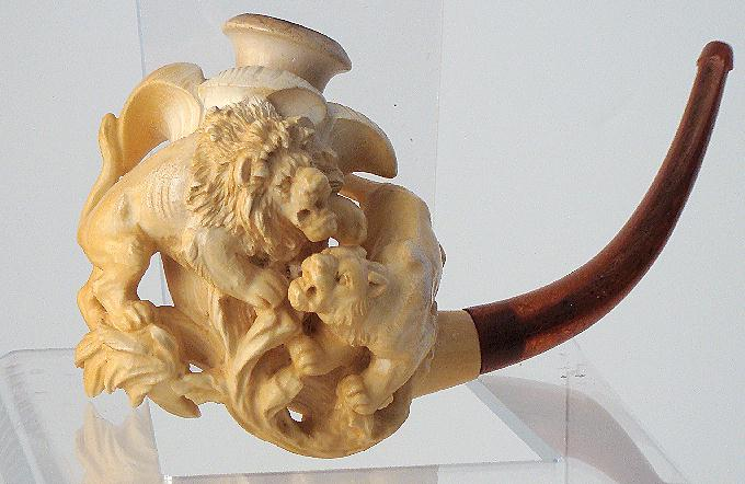 Intricately Carved Figural Meerschaum Pipe Male & Female Lion Frolicking Large