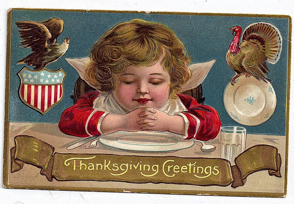 1908 Embossed Thanksgiving Greeting Postcard Adorable Cherub Eagle Turkey American Flag Shield