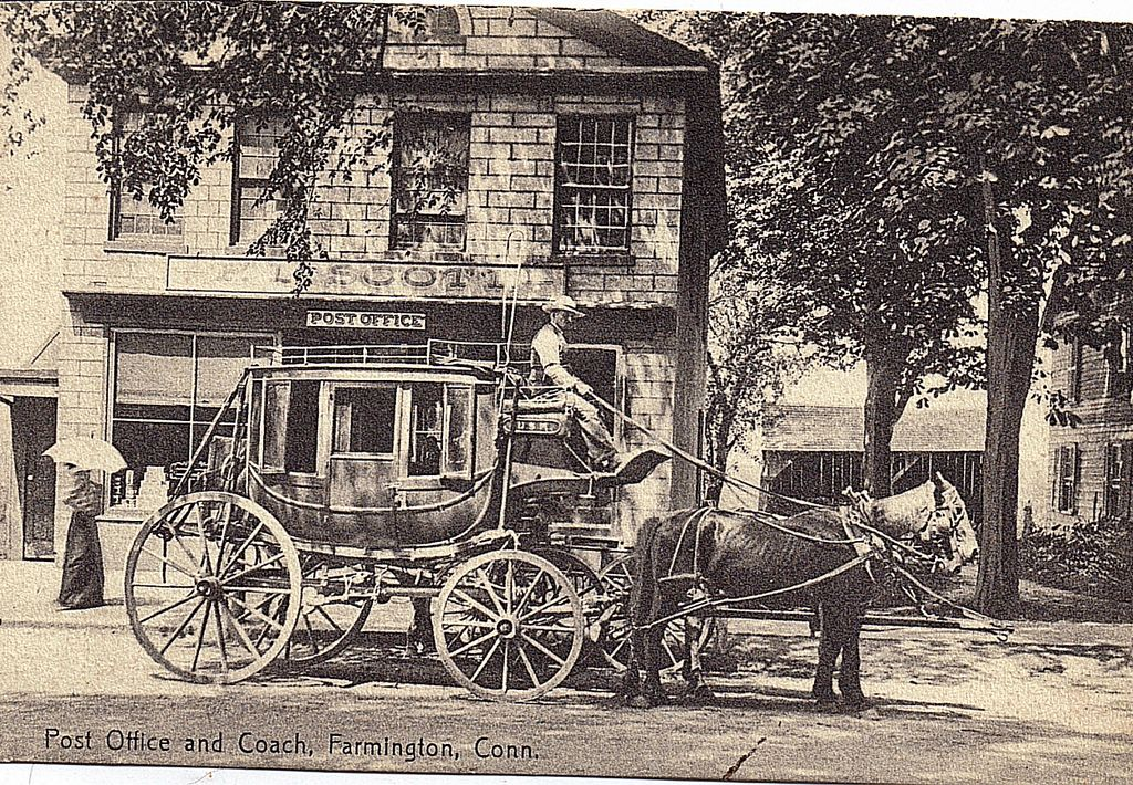 Early 1900s Real Life Postcard Post Office And (Stage) Coach Farmington Conn.