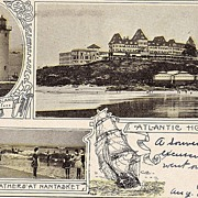 1906 postcard MA Atlantic House Bathers at Nantasket Beach & Long Island Light House