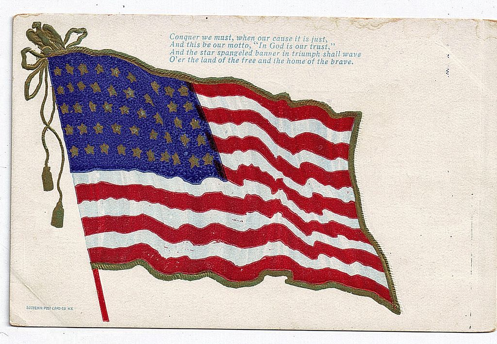 1907 46 Star American Flag Postcard Conquer We Must When Our Cause It Is Just