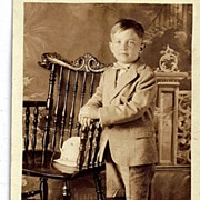 1927 RPPC Real Photo Postcard Adorable 6 Year Old Boy in Suit Bowtie And Knickers