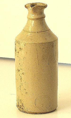 Very Scarce Signed Merrill Pottery Co, Akron Ohio Master Ink Stoneware Bottle