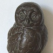 Wonderful Artist Signed Joseph L. Boulton Westport CT Owl Sculpture Hand Cast Foundry Stone Bronze Patina
