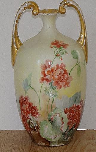Jean Pouyat Limoges J. P. L.Handpainted Muscle Vase Pink & Red Floral