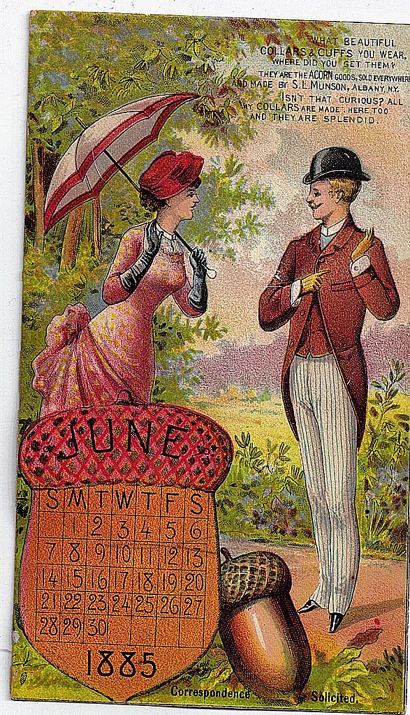 1885 Victorian Acorn June calendar Trade Card Acorn Collars & Cuffs S.L. Munson Co.
