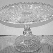 EAPG Early American Pattern Glass Sultan AKA Curtain Pedestal Cake Stand 1870s