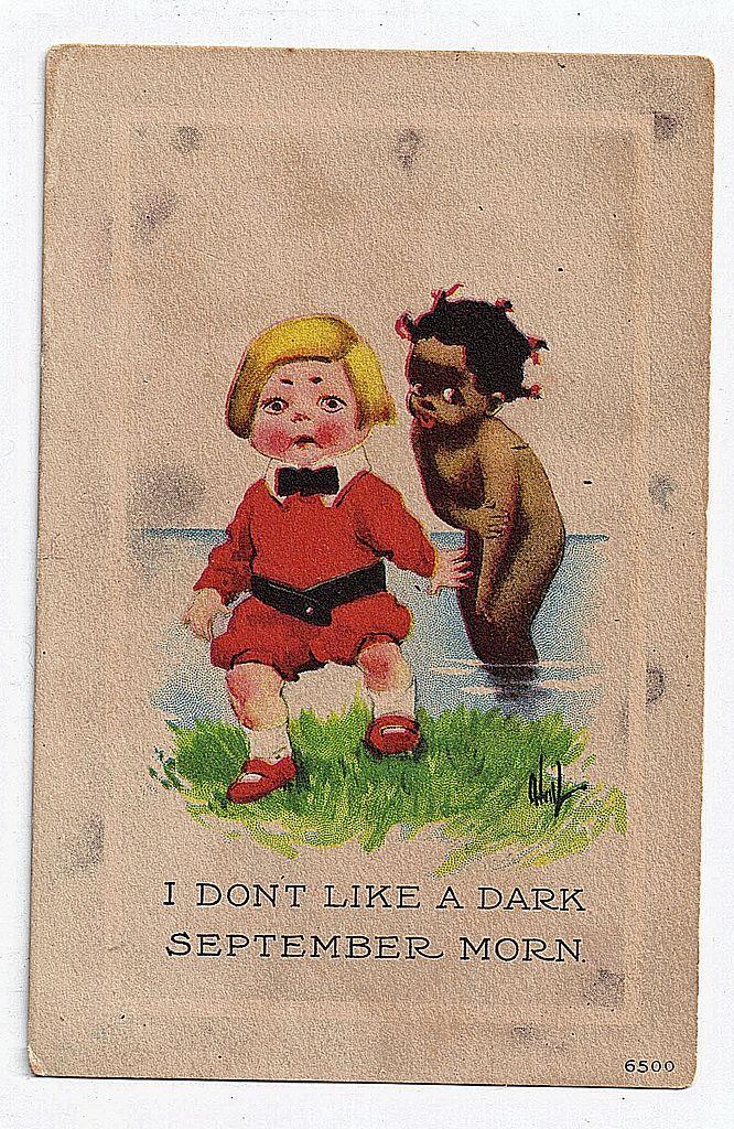 "1913 Black Americana Postcard ""I Don't Like A Dark September Morn"" Unused"