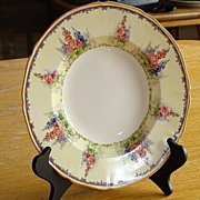 "Alfred Meakin Large 9"" Rimmed Soup Bowl Hollyhock Pattern"