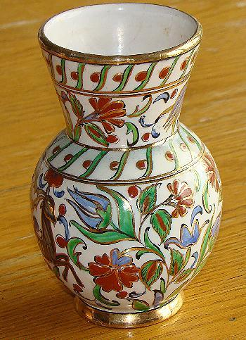 Stunning Ikaros Pottery Hand Painted Rhodes Greece Polychrome Floral Vase Deer