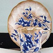Stunning Doulton Burslem England Flow Blue Floral & Brushed Gold Mustache Cup & Saucer