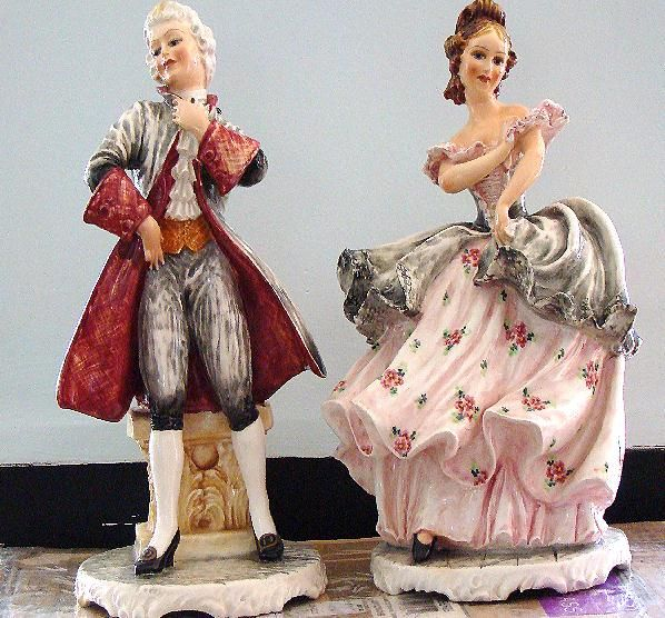 Fabulous Matched Pair Artist Signed C. Mollica Carlo Mollica Italian Victorian Style Large Man And Woman Figurines