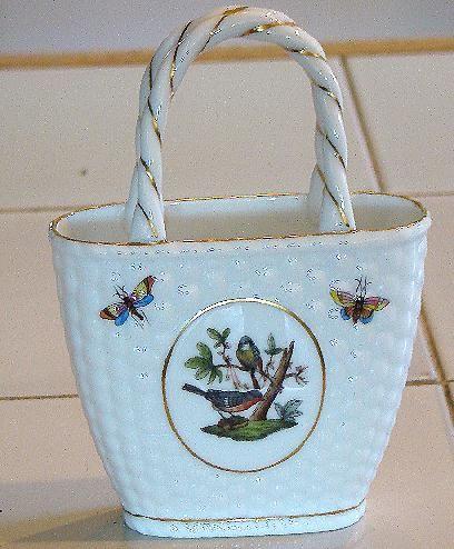 Fabulous Herend Hungary Handled Basket Rothschild Bird Pattern Butterflies