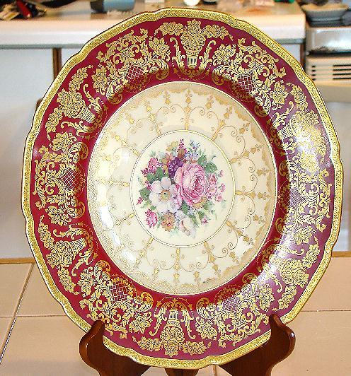"Wonderful Rosenthal Bavaria Ivory 10.5"" Gold encrusted Burgundy Plate Pattern #5956 ,"