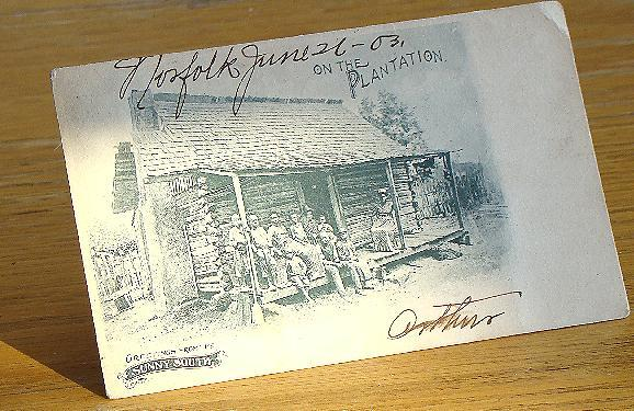 "1903 Black Americana postcard ""On The Plantation "" Greetings From The Sunny South"