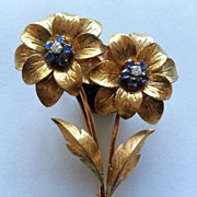 Amazingly Beautiful Tiffany Italy 18k Gold Double Floral Pin Brooch Diamonds & Sapphires