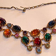 Vintage Vivid Multi-colored Cabachon Jelly Belly Necklace