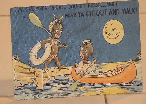 "Black Americana Linen Postcard ""I'm Prepared In Case You Get Fresh ---And I Have' ta Git Out And Walk"""