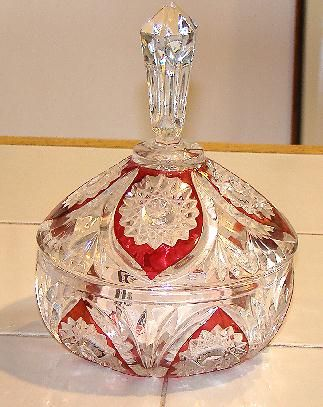 Magnificent EAPG  Ruby Red Stain Covered Candy Dish Fans & Hobstars