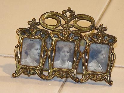 Highly Unusual Victorian Brass Miniature K & CO. (Kronheimer & Oldenbusch ) Ornate Triple Rectangular Photo Picture Frame