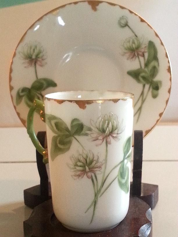 Jean Pouyat Limoges Hand Painted Clover Chocolate Cup & Saucer Artist Signed