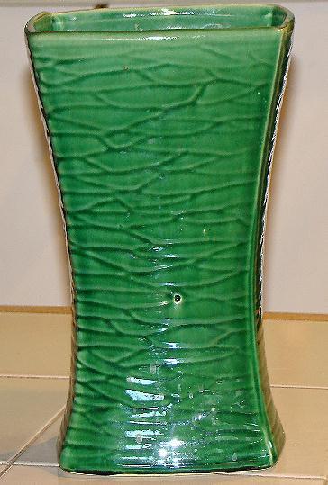 McCoy Pottery Green Glaze Rectangular Art Deco Vase