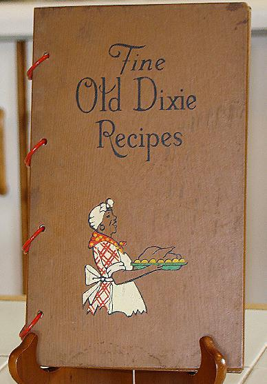 Black Americana Wood Cover 1939 Fine Old Dixie Recipes 322 Recipes heavily illustrated