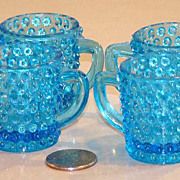 "Four (4) EAPG Miniature Blue Hobnail Mugs Cups 1 1/2"" X 1 1/2"""