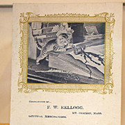 1904 F. W. Kellogg Mt. Hermon Mass. Adorable Kitten Spilling Inkwell Calendar