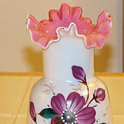 Early 1900s Hand Painted Floral Cased Glass Pink Ruffled Rim Vase