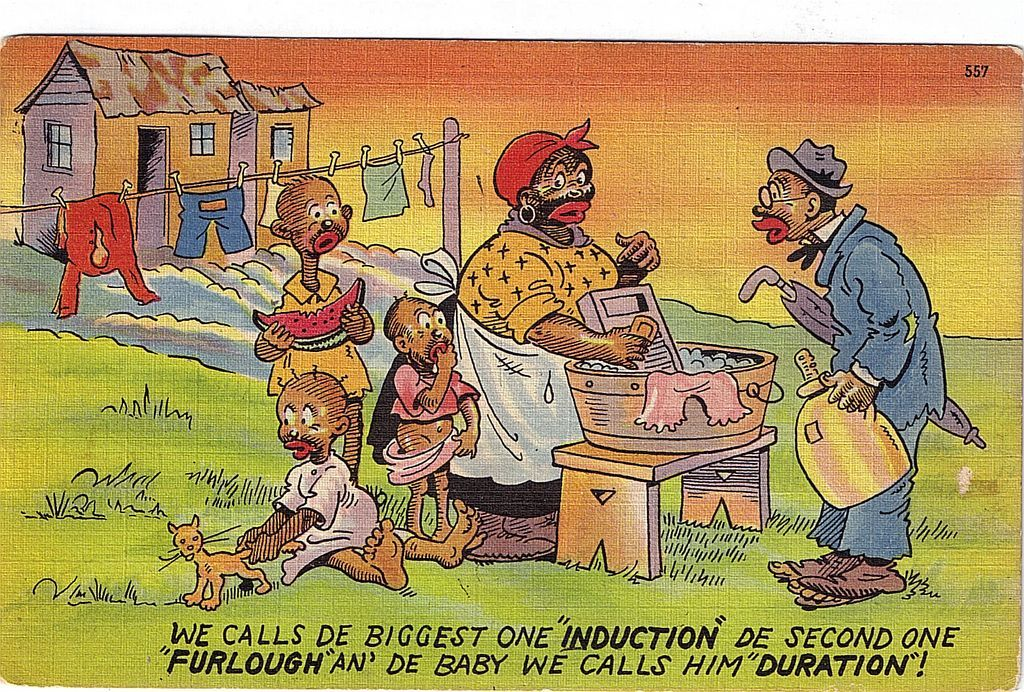1949 Black Americana Linen Postcard Induction, Furlough, and Duration