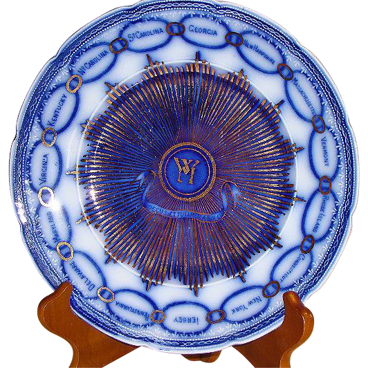 Flow Blue Martha Washington AKA Chain Of States Plate